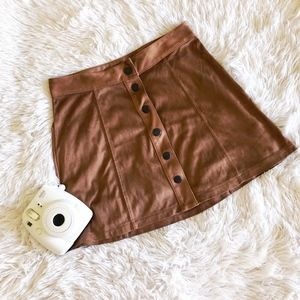 AEO brown faux suede front button down mini skirt